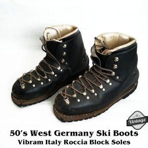1950s West Germany Leather Ski Boots SZ 8
